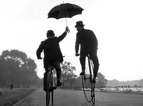 Hommes Vélos Parapluie Noir et Blanc