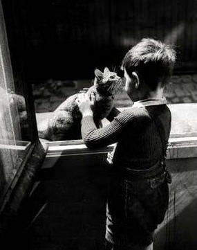 Chat et enfant en noir et blanc