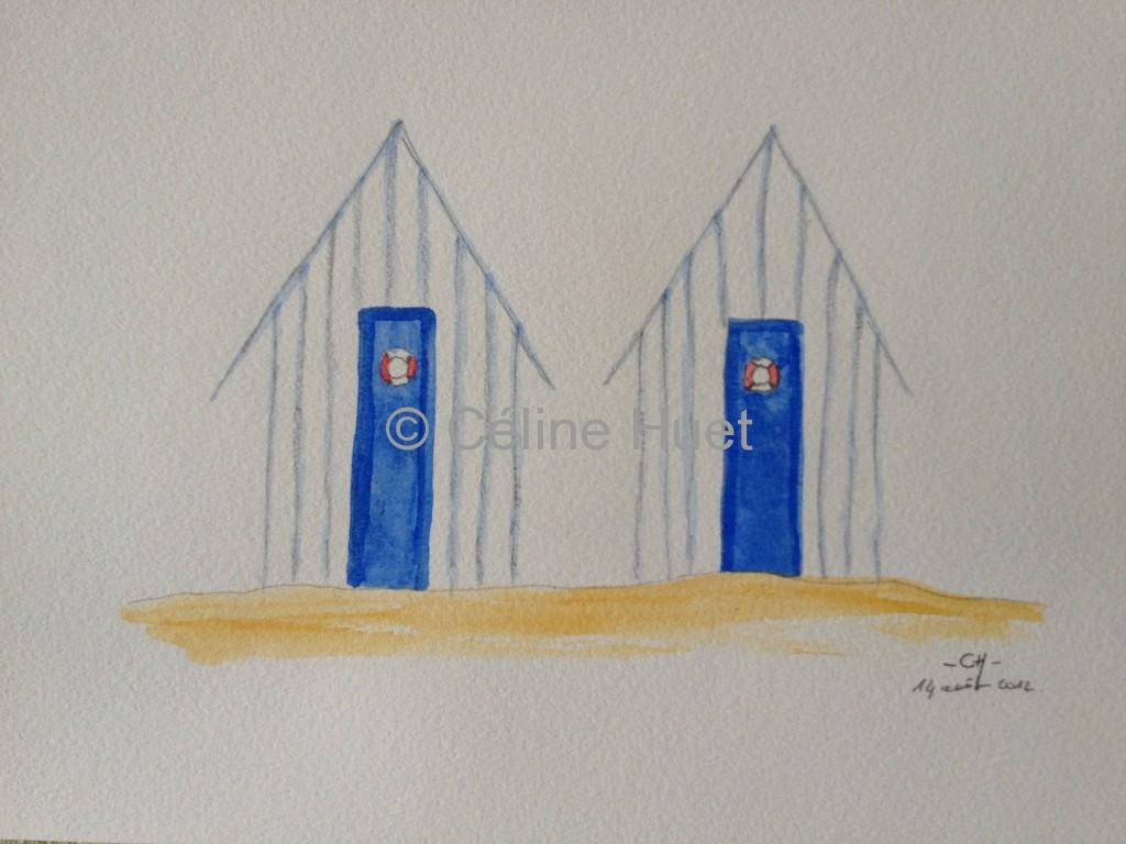 Aquarelle cabines de plage Céline HUET