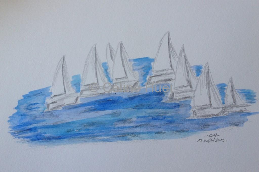 Aquarelle Voiliers sur la mer malouine un jour de beau temps Céline HUET