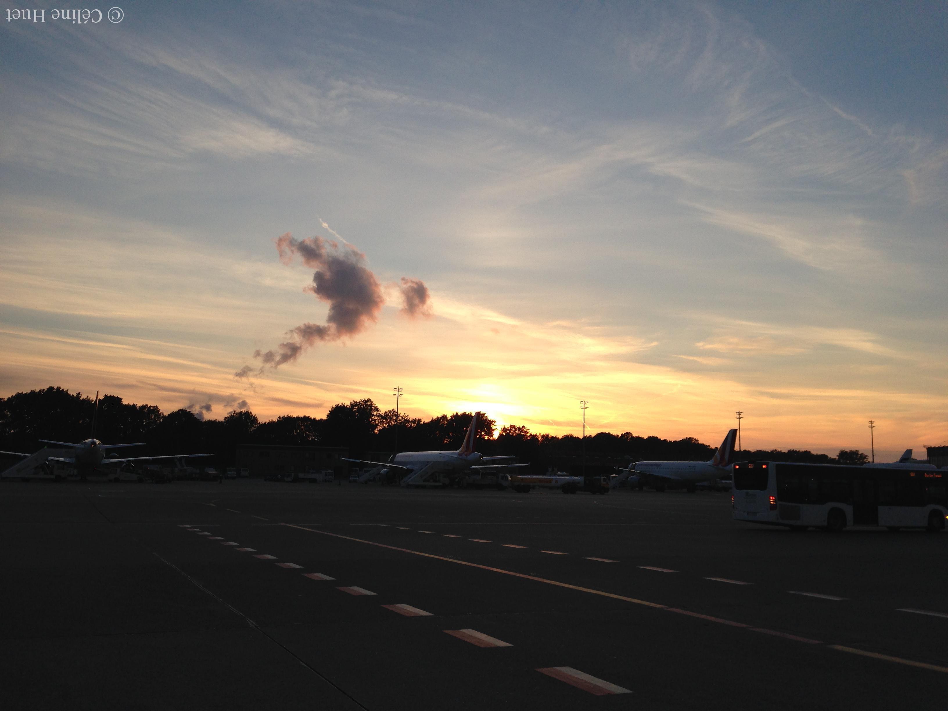 Aéroport de Berlin Coucher de soleil Allemagne