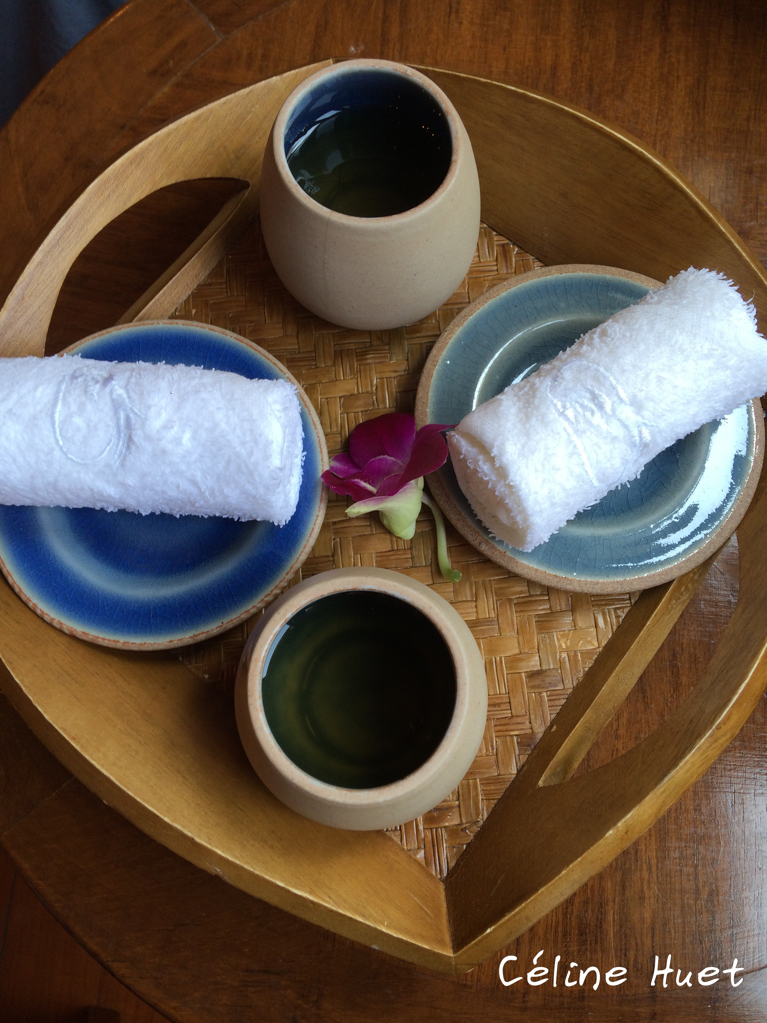 Thé au gingembre avant massage Spa Mandarin Oriental Bangkok