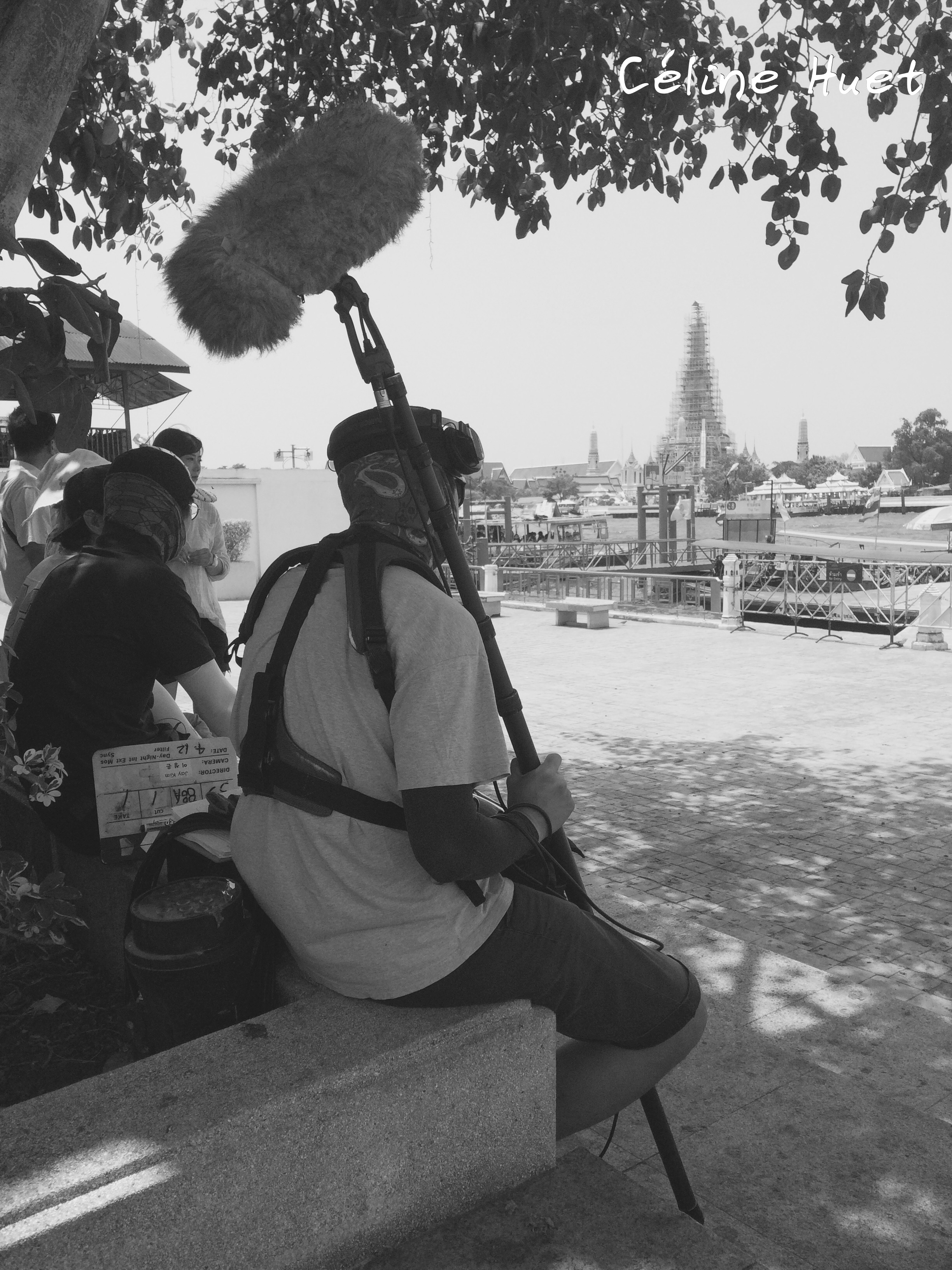 Movie shooting Bangkok Chao Praya Wat Arun Thailand Asia