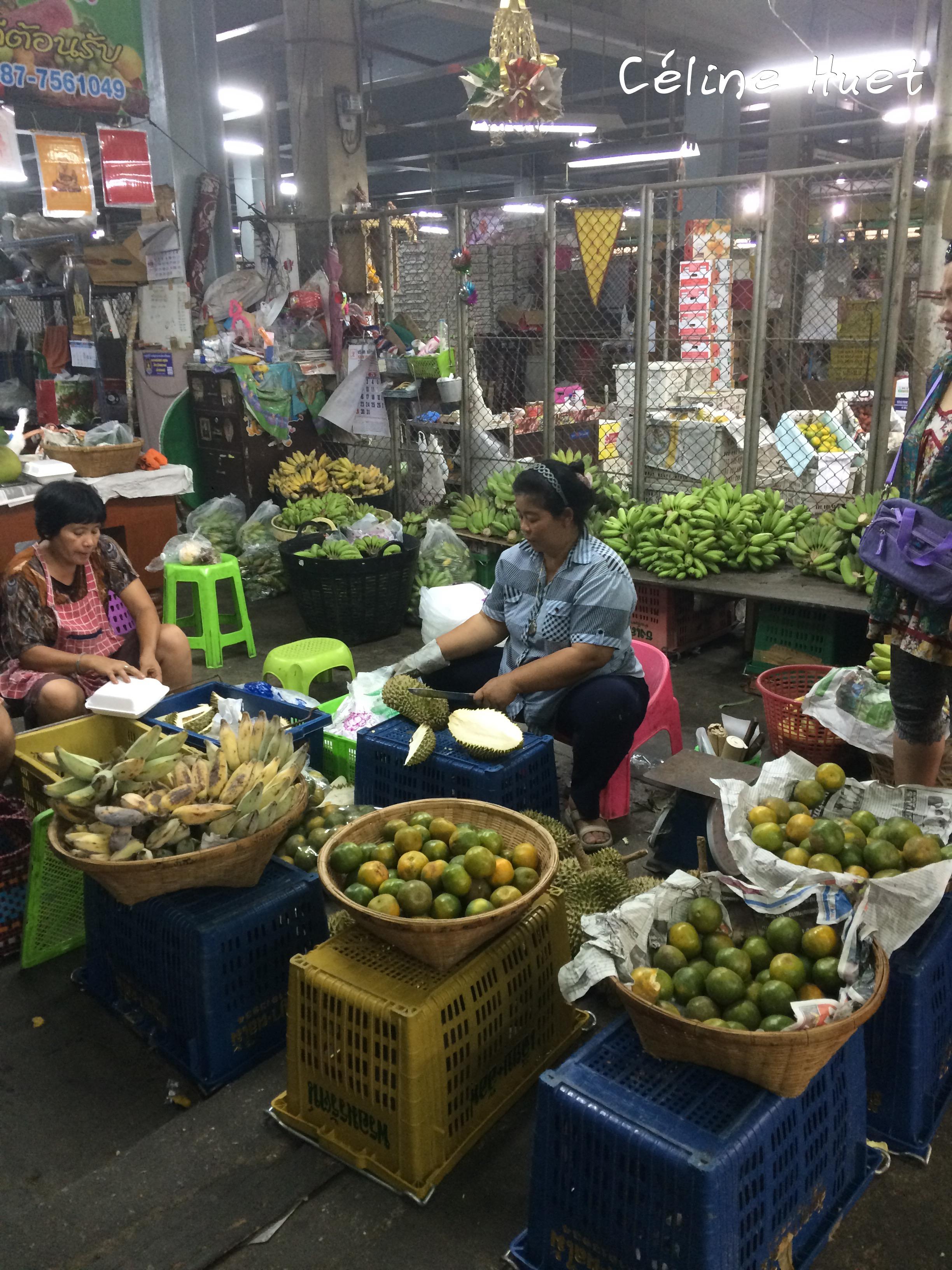Durian's lady Flowers Market Bangkok Thailand Asia