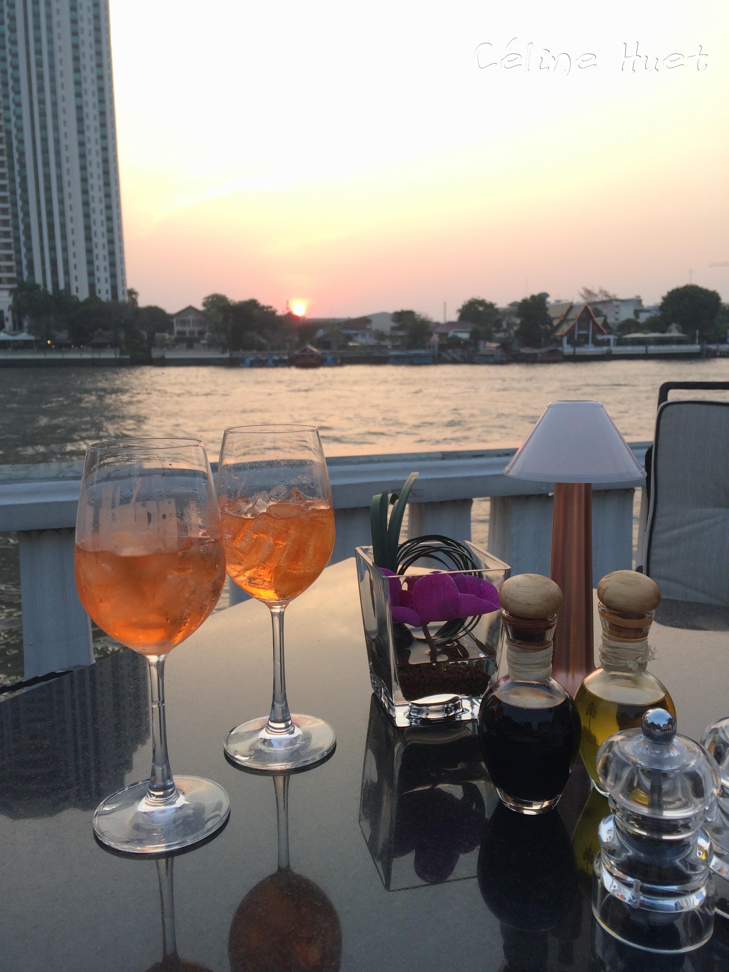 Sunset from Ciao Mandarin Oriental Bangkok Thailand Asia