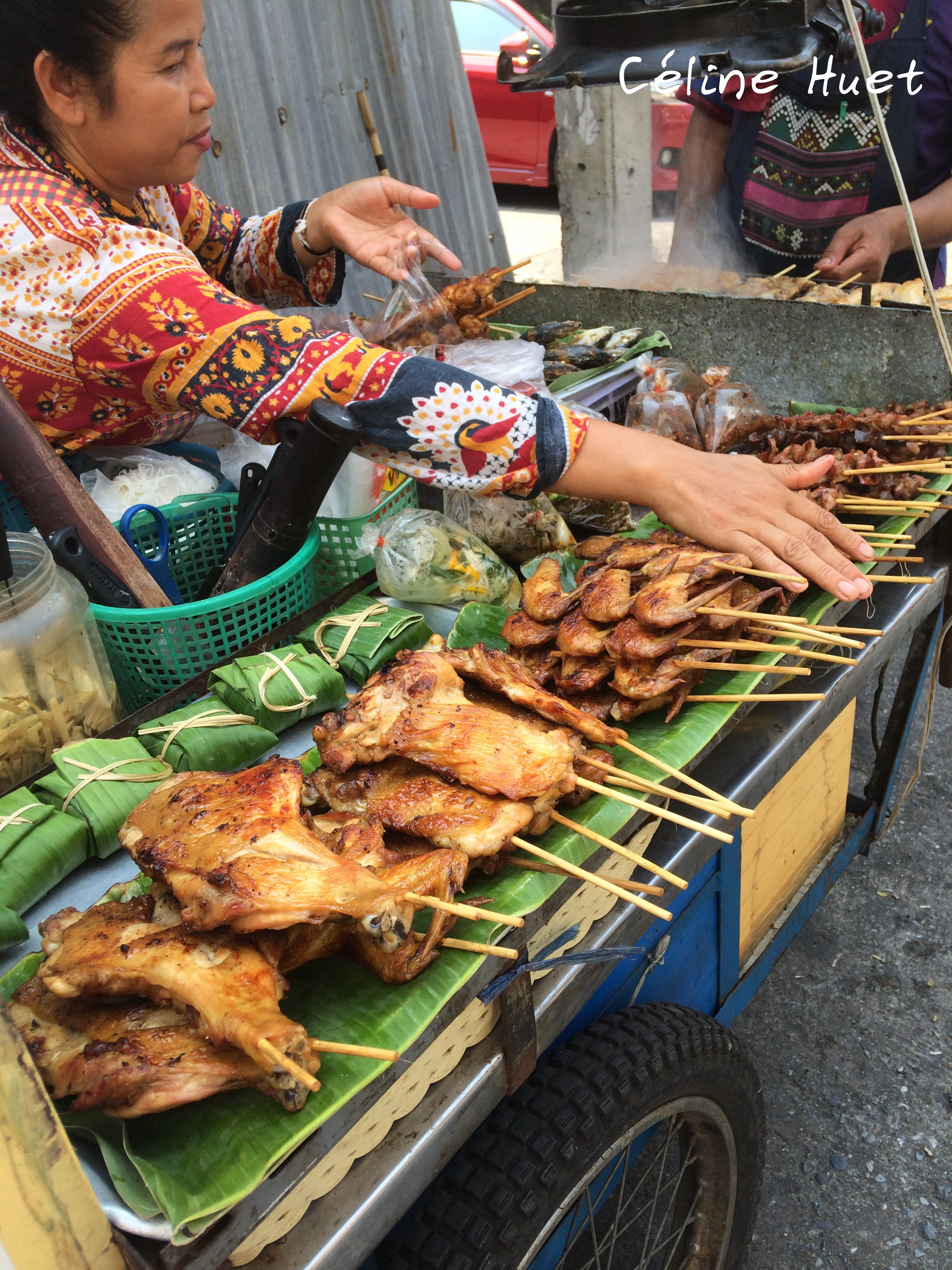 Brochettes dans la rue Bangkok Thaïlande Asie