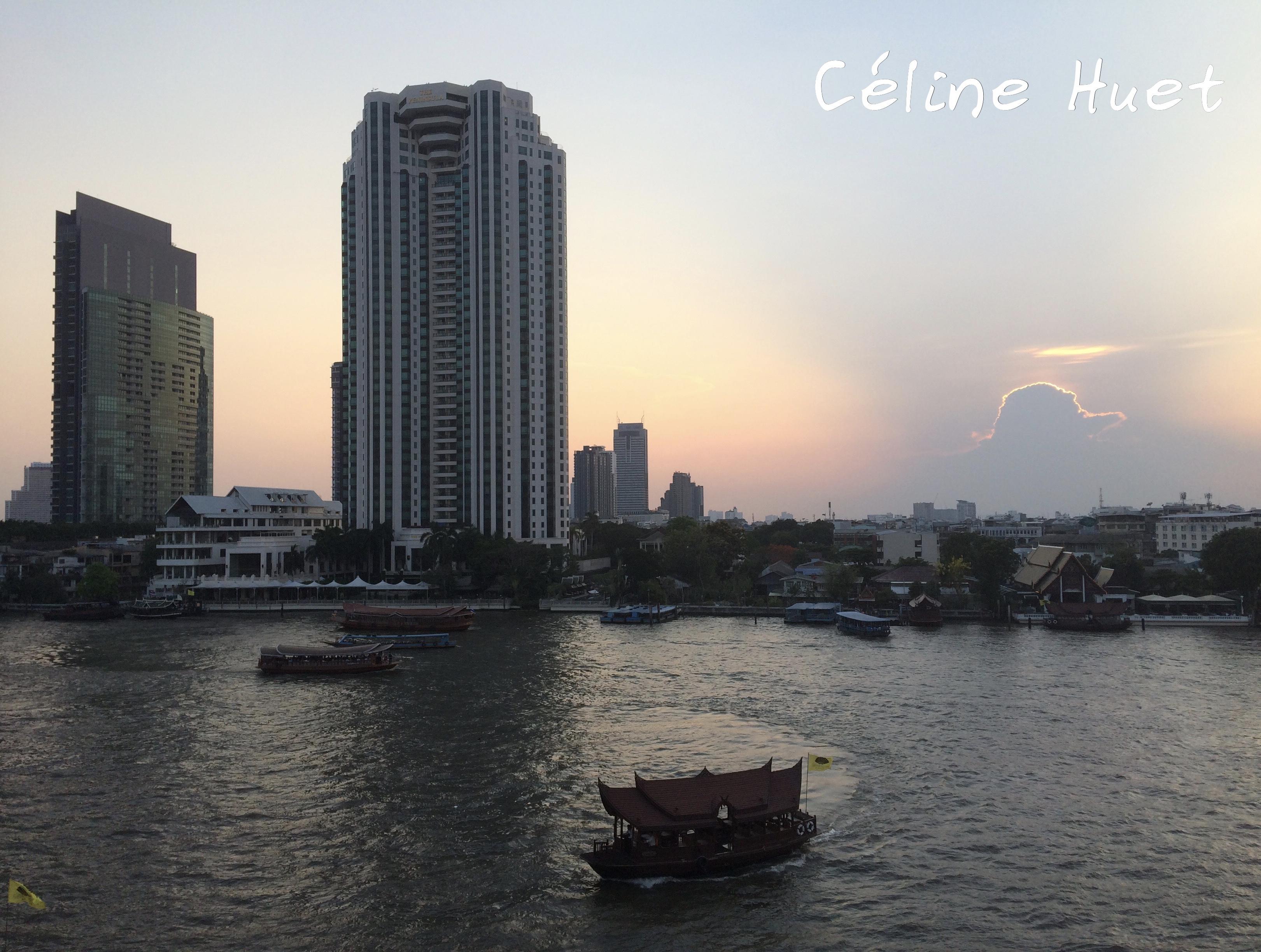 Coucher de soleil depuis le Mandarin Oriental de Bangkok Thaïlande Asie
