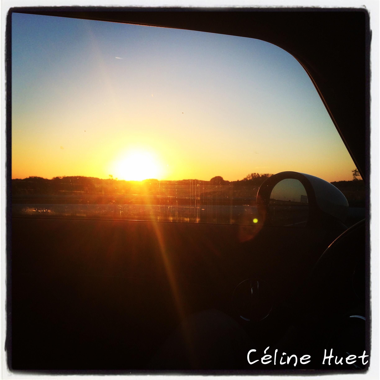Coucher de soleil sur la route Gers Paris