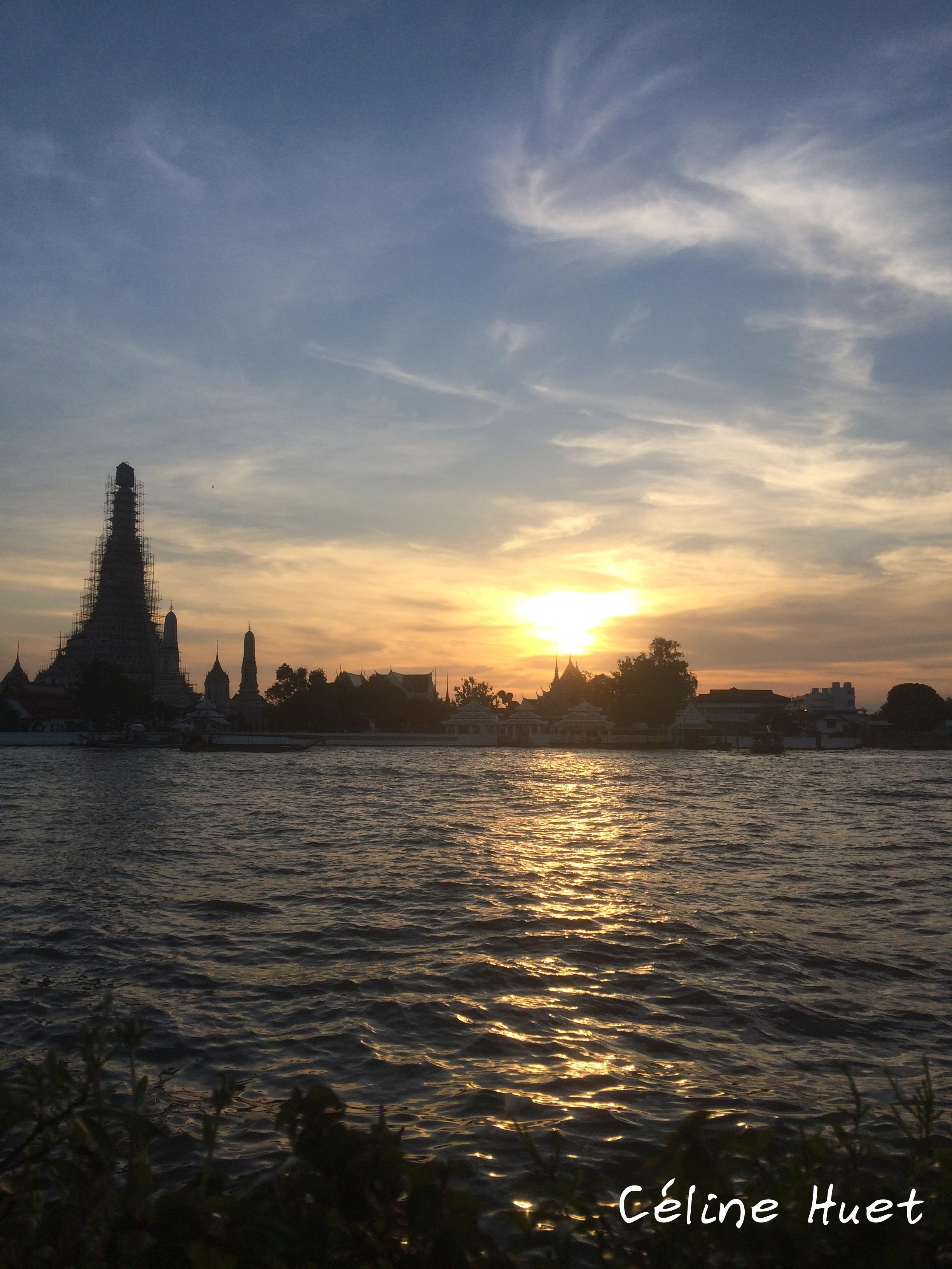 Coucher de soleil Wat Arun Bangkok Thaïlande Asie
