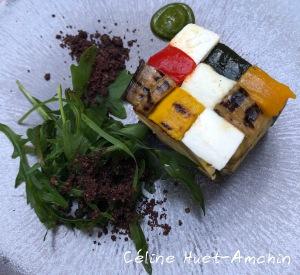 Légumes mozzarella pesto poudre d'olive noir Thierry Marx Le Camélia Mandarin Oriental Paris