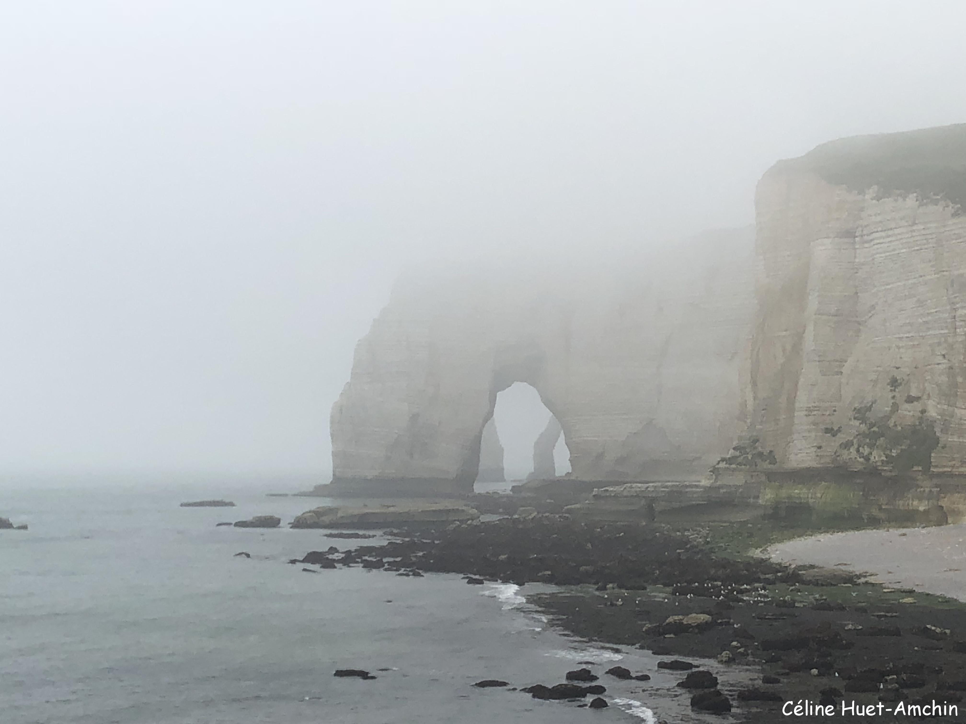 La Manneporte et la Porte d'Aval au loin Etretat Normandie