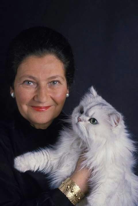 Simone Veil et son chat