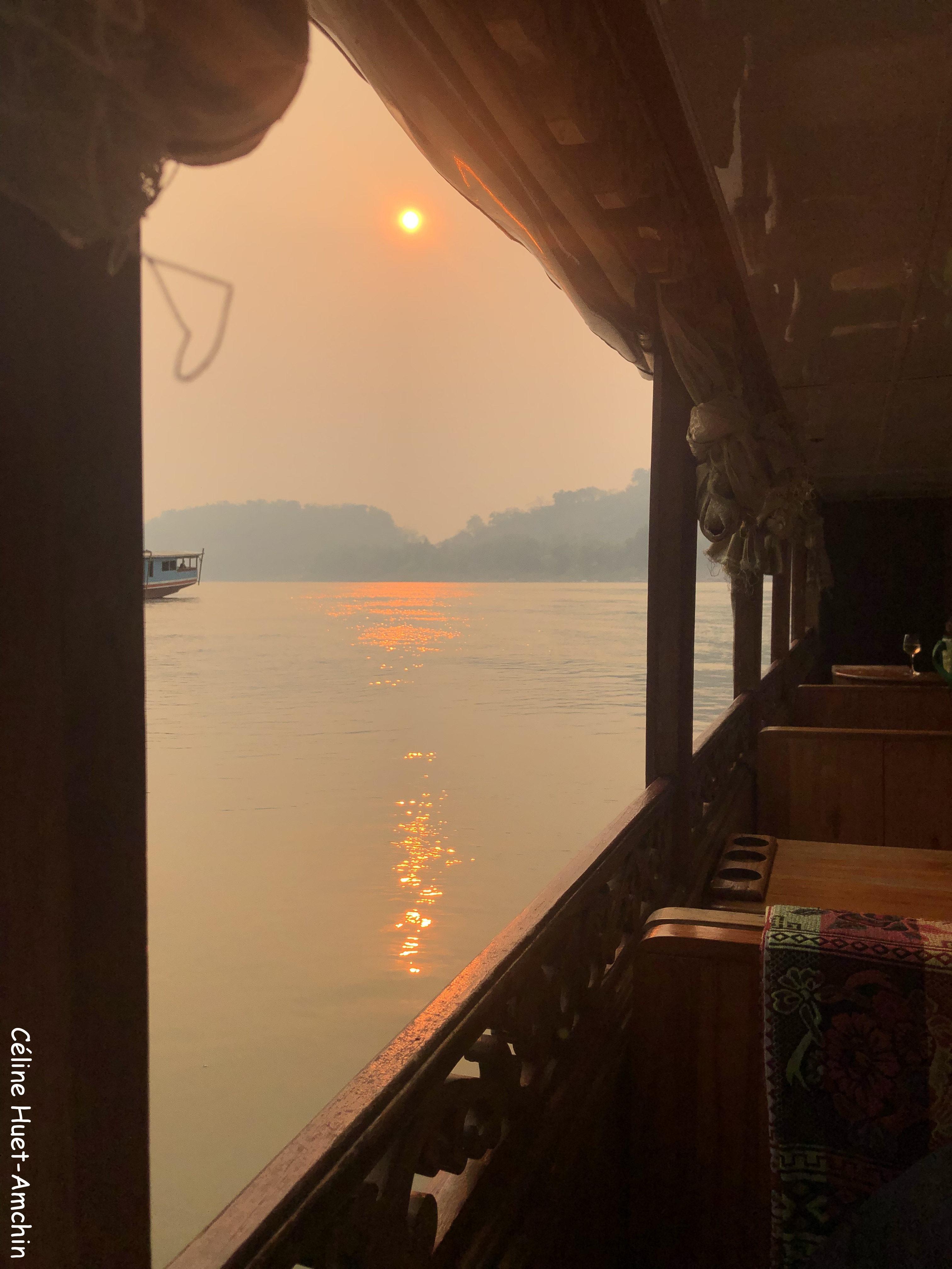 Coucher de soleil Mékong Luang Prabang Laos Asie